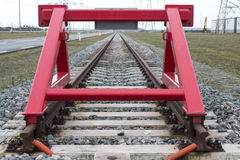 Red railroad buffer Stock Image