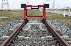 Red railroad buffer. End to destination Royalty Free Stock Photography