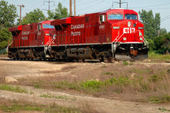 Red railroad locomotives Royalty Free Stock Photo