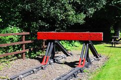 Red railway buffer. Royalty Free Stock Photos