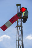 Red Railway Signal. Old red railway semaphore signal and red spectacle in lower quadrant Royalty Free Stock Photos