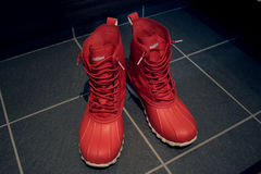 Red Rain boots Royalty Free Stock Photos