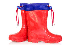 Red rain boots stock image