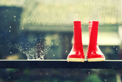 Red rain boots Royalty Free Stock Photography