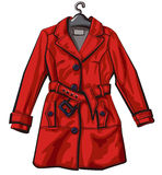 Red rain coat Stock Image