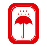 Red rain with umbrella emblem icon. Illustraction design Stock Images