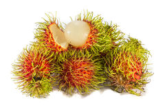 Red rambutan sweet delicious fruit  on white background. Rambutan sweet delicious fruit  on white background Stock Photos