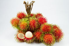 Red rambutan on white backgruond. Stock Photography