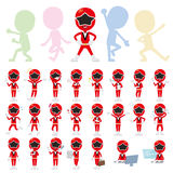 Red Ranger. Set of various poses of Red Ranger Stock Photo