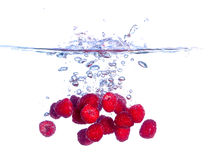 Red Raspberries Falls under Water with a Splash Royalty Free Stock Images