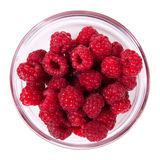 Red raspberries in a glass bowl Stock Photos