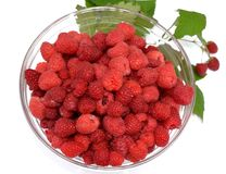 Berries raspberry in a transparent bowl. stock photos