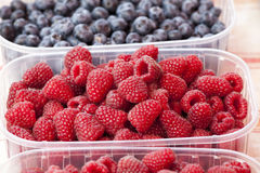 Red raspberries. A plastic tray with several raspberries. Raspberry. Royalty Free Stock Photos