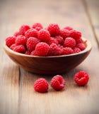 Red raspberries. Ripe red raspberries in bowl Stock Image