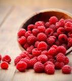 Red raspberries. Ripe red raspberries in bowl Stock Photography