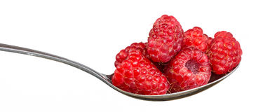 Red raspberries on a spoon Royalty Free Stock Image