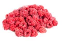 Red raspberries  on white Stock Photo