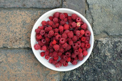 Red raspberries on a white plate Royalty Free Stock Photography