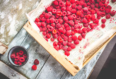 Red raspberries in a wooden box and a metal mug, top view. Fresh red raspberries in a wooden box and a metal mug, top view,raw healthy food Stock Photo