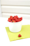 Red raspberry. Fresh red raspberry in the white bowl stock image
