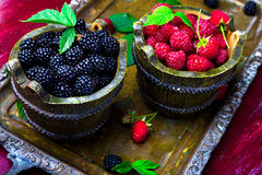 Red raspberry and  blackberry with leaf in a basket on vintage metal tray. Close up. Red raspberry and  blackberry with leaf in a basket on vintage metal tray Stock Images