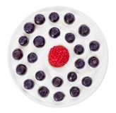 Red raspberry and blue bilberry in round plate. Red raspberry and blue bilberry in small round plate with sour cream, isolated on white Stock Photography