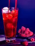 Red  raspberry cocktail  on dark background 62 Stock Photography