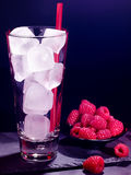 Red raspberry drink on black background Royalty Free Stock Photography