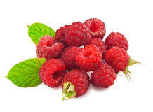 Red Raspberry with green leaf. On white Stock Photo