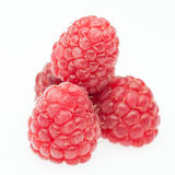 Red raspberry lying in form of pyramid Stock Photos