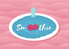 Red raspberry smoothie cocktail drink label design. Red berry smoothie drink label vector illustration. Tasty natural raspberry with Smoothie sign in white frame vector illustration