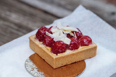 Red raspberry tart pastry with a cookie crust and white chocolat Royalty Free Stock Photos