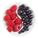 Red raspberry versus black bilberry in plate. Red raspberry versus black bilberry in Yang Yin shaped plate, isolated on white Royalty Free Stock Photography