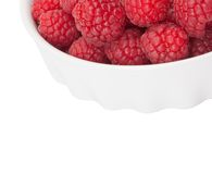 Red raspberry in a white bowl isolation. Closeup Royalty Free Stock Photo
