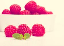 Red raspberry in a white bowl. Toned in warm colors Royalty Free Stock Photos