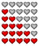 Red rating hearts Royalty Free Stock Photo