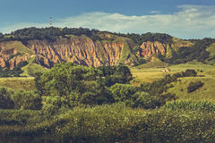 Red Ravine (Rapa Rosie) Landscape. Panoramic view of the protected area Red Ravine (Rapa Rosie), a rare geological phenomenon, in South-Est of Apuseni Mountains Stock Photo