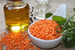 Red raw lentils Royalty Free Stock Photos