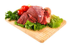 Red raw meat. On bamboo wood fresh red raw beef royalty free stock photography