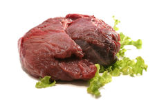 Red raw meat over white Royalty Free Stock Image