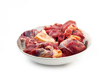 Red raw meat over white Stock Images