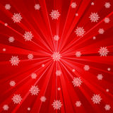 Red rays and snowflakes Royalty Free Stock Images