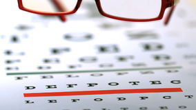 Red reading glasses falling on eye test. In slow motion stock footage