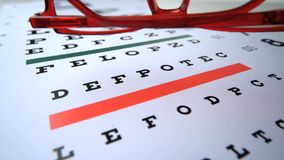 Red reading glasses falling onto eye test close up. In slow motion stock video