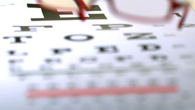 Red reading glasses falling onto eye test. In slow motion stock footage