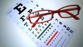 Red reading glasses falling onto eye test. In slow motion stock video