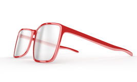 Red reading glasses on a white background Royalty Free Stock Photos