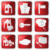 Red real estate icon set Stock Image