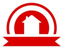Red real estate symbol. With sun and house silhouette Royalty Free Stock Photos