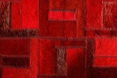 Red real leather patchwork Stock Photos